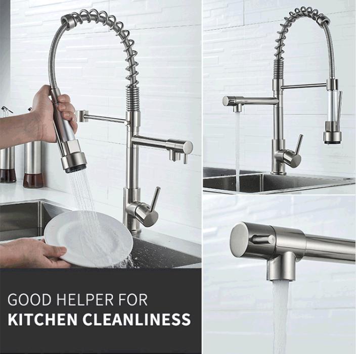 Кухонный смеситель, кухонный кран с двумя выходами для горячей и холодной воды, современный дизайн