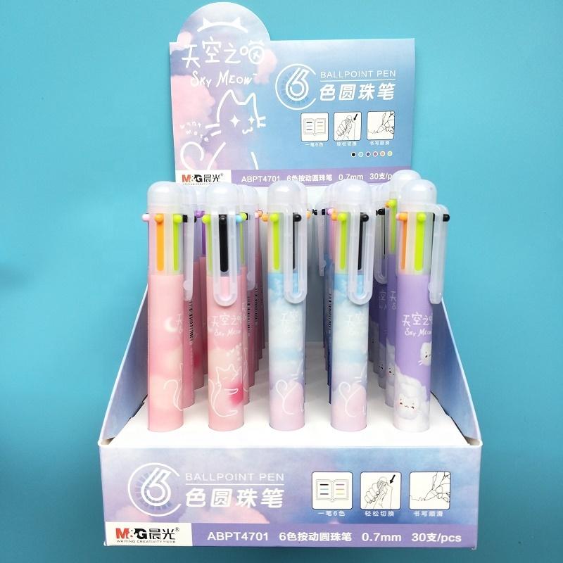 Andstal Cute Cartoon Cat Multi-Functional Pen Ink Pens Ballpoint 6 in 1 Ballpoint pen For School Supplies