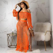 Лето 2020 размера плюс 2 шт набор Клубные наряды для женщин 2 шт набор короткий топ и юбка соответствующие наборы Conjuntos De Mujer S3554(Китай)