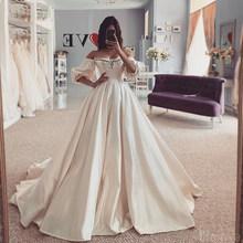 LORIE атласные свадебные платья 2020, с открытыми плечами и длинным рукавом, шнуровка сзади, свадебные платья, пляжные, бохо, принцесса, свадебны...(China)