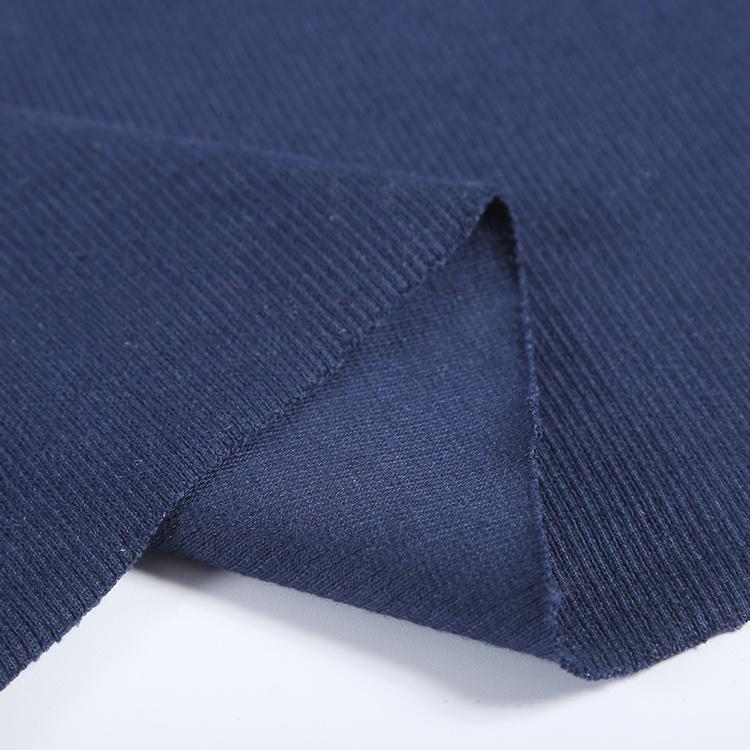 Rib fabric supplier 95% cotton 5%spandex soft stretch thick 2x2 rib knit fabric for tops