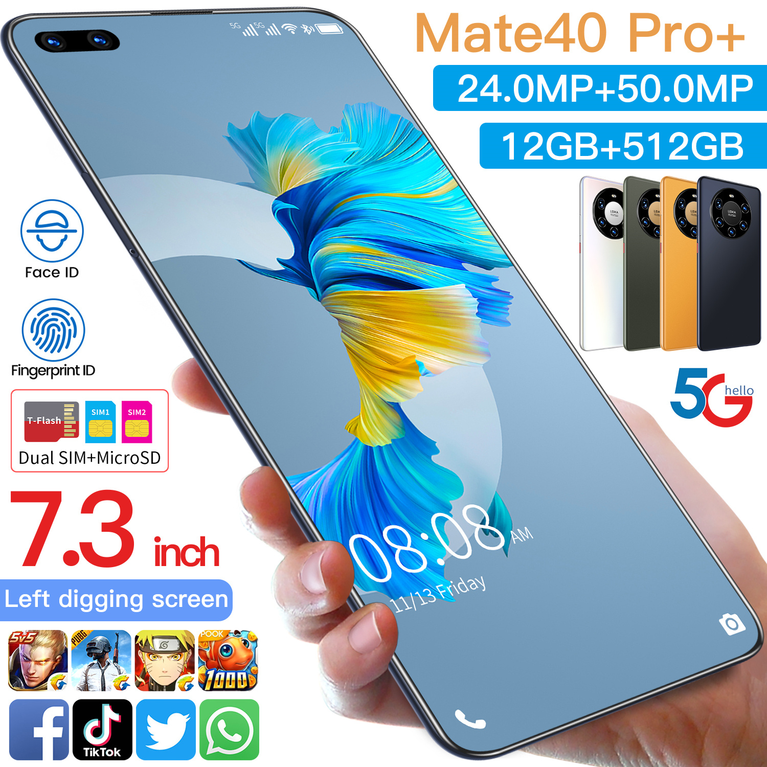 Mate 40 Pro+ Hot Selling 12GB+512GB 7.3Inch full Display Android 10.0 Mobile Phone Cell Phone Smartphone
