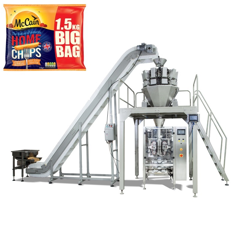 Vffs Full Automatic 1.5kg Big Bag French Fries Snacks Filling Packaging Machine
