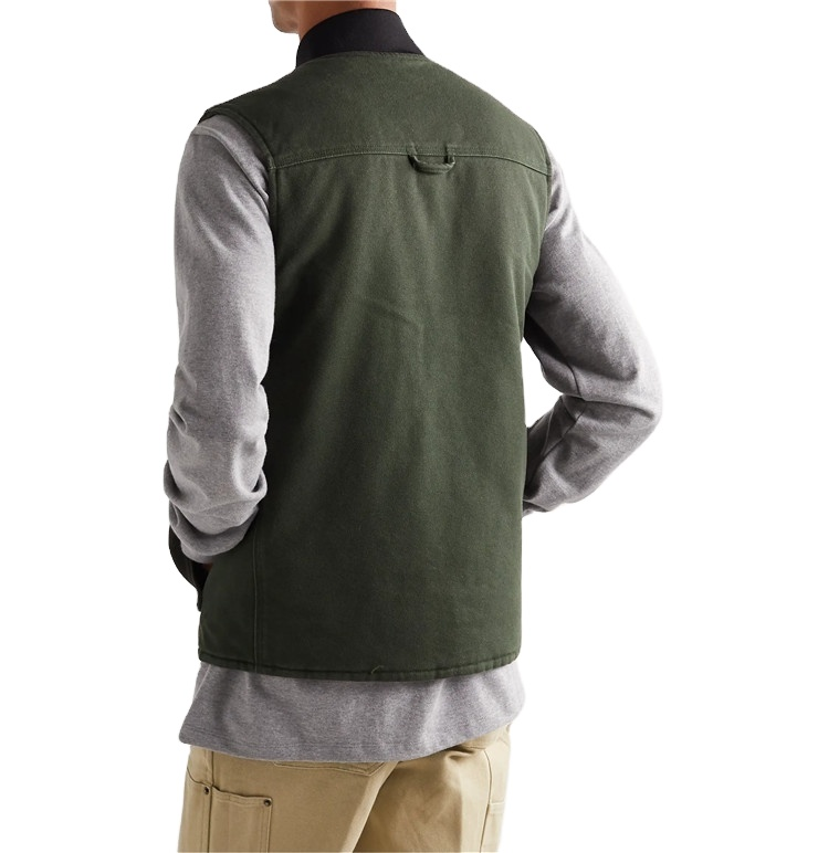Custom Fashion Olive Reversible Quilted Inside Mens Cotton Canvas Vest