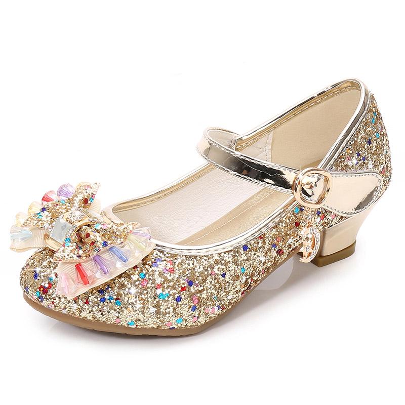Оптовая продажа, Детская блестящая обувь с бантом для девочек, обувь принцессы для девочек на свадьбу, вечеринку, танцевальная обувь