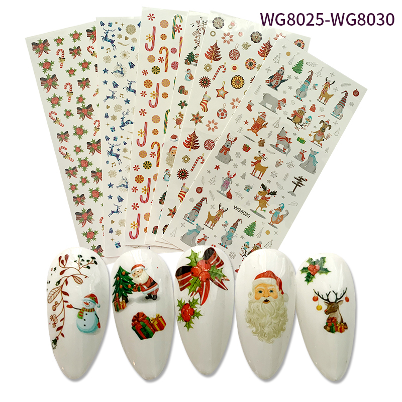 2020 hot sale Chrismas Cartoons nail art sticker water transfer paper Factory direct sales