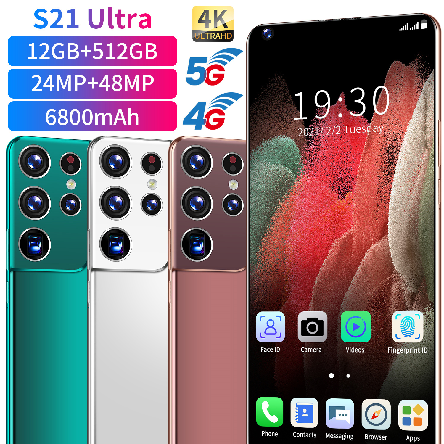 2021 Hote Sale 7.3inch Smartphone High quality S21Ultra mobile phones4G 5G 512GB Original Unlock Android Phone