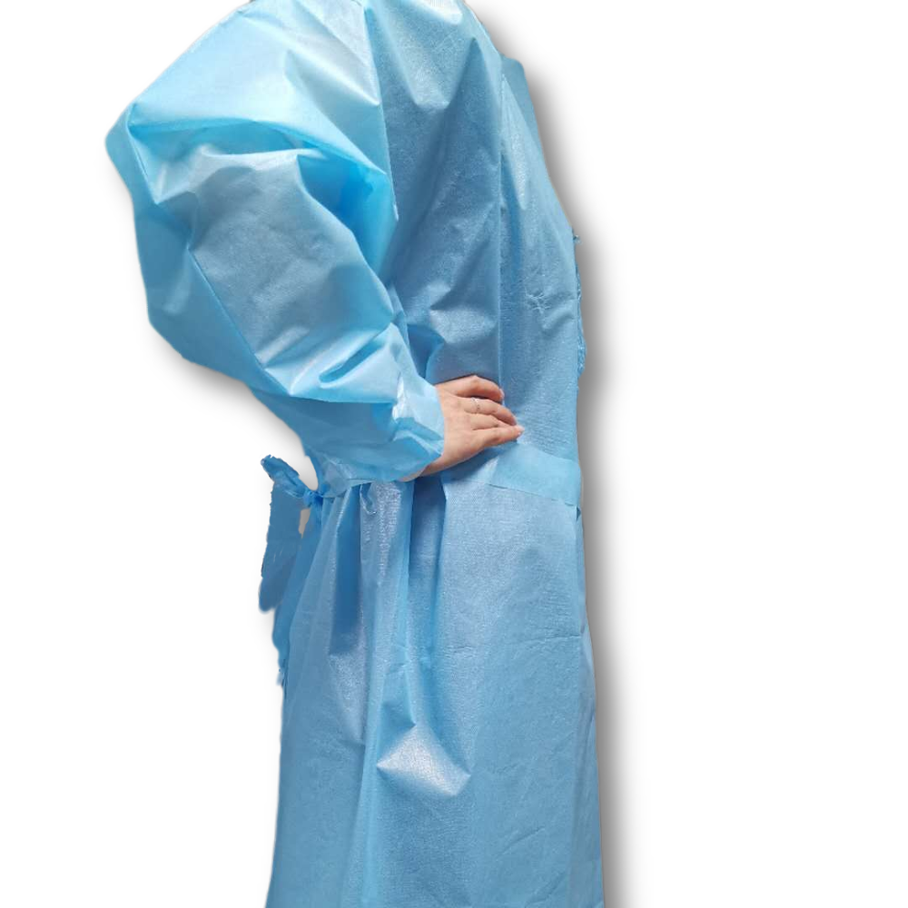 disposable blue pe 40 gsm visitor coat disposable apron with sleeve - KingCare   KingCare.net