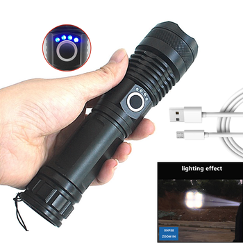 Cheap 18650 Batteries Zoom Powerful XHP50 Torch 2000 Lumens Waterproof USB Rechargeable Beam Lights P50 Flashlight for Camping