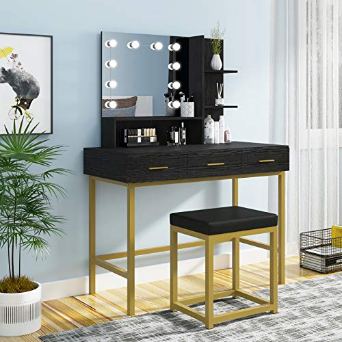 غرفة نوم الإضاءة قابل للتعديل منضدة الزينة الحديثة يشكلون الغرور مجموعة منضدة مع البراز