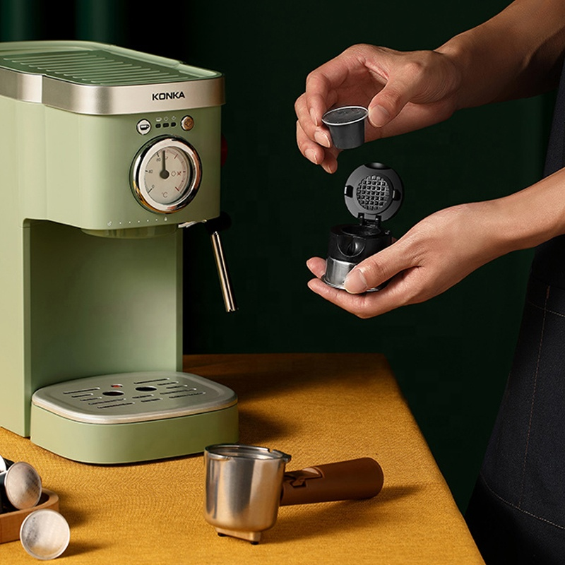 KONKA итальянская полуавтоматическая Капсульная кофемашина Бытовая ретро модная молочная пузырьковая мини-кофемашина двойного назначения