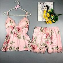 Сексуальная пижама с принтом для женщин, топ на бретельках и шорты, кружевные лоскутные женские пижамы, набор, 2020, летняя одежда для сна, Женс...(Китай)