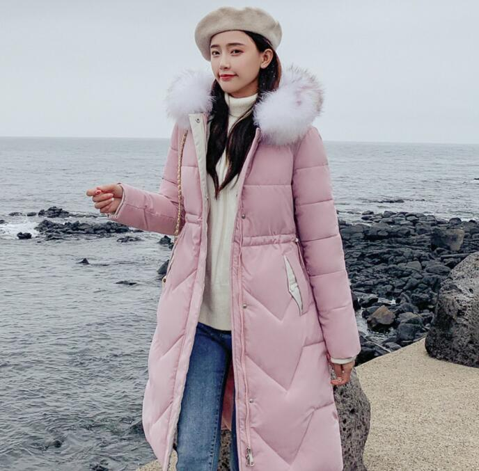 Womens Quilted Puffer Coat Down Cotton Hooded Long Winter Warm Fur Parka Jackets