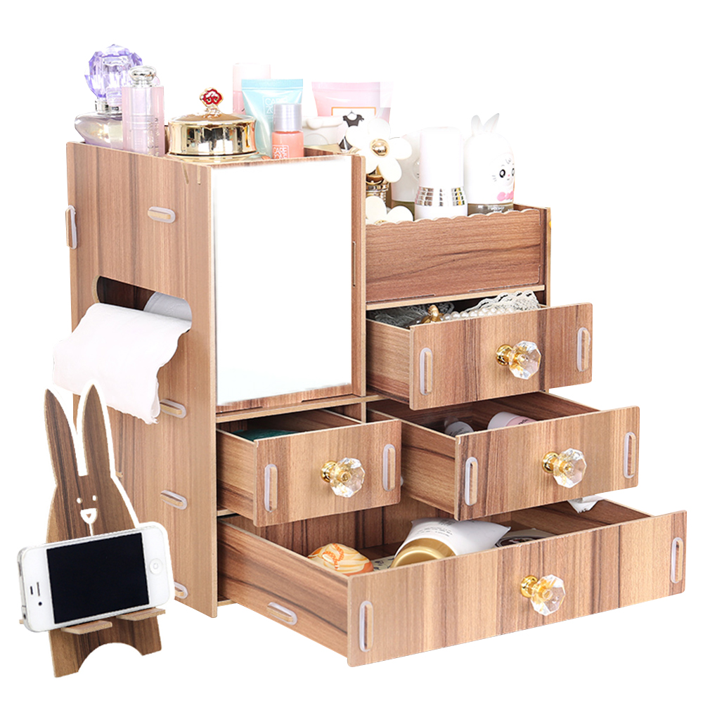Wooden DIY Cosmetic Storage Case Makeup Box Jewelry Organizer Great for Bathroom, Dresser, Vanity and Countertop