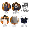 Royal blue Four-piece overcoat+sweater-Girl