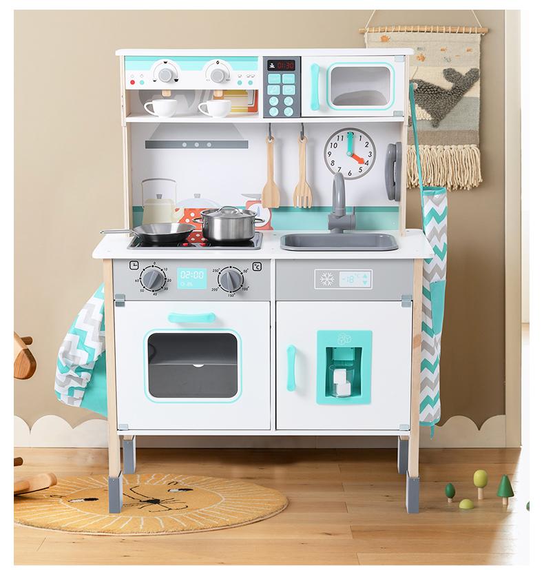 Оптовая продажа, деревянные детские кухонные игрушки, роскошная модель со звуком и светом, набор кухонной утвари из нержавеющей стали