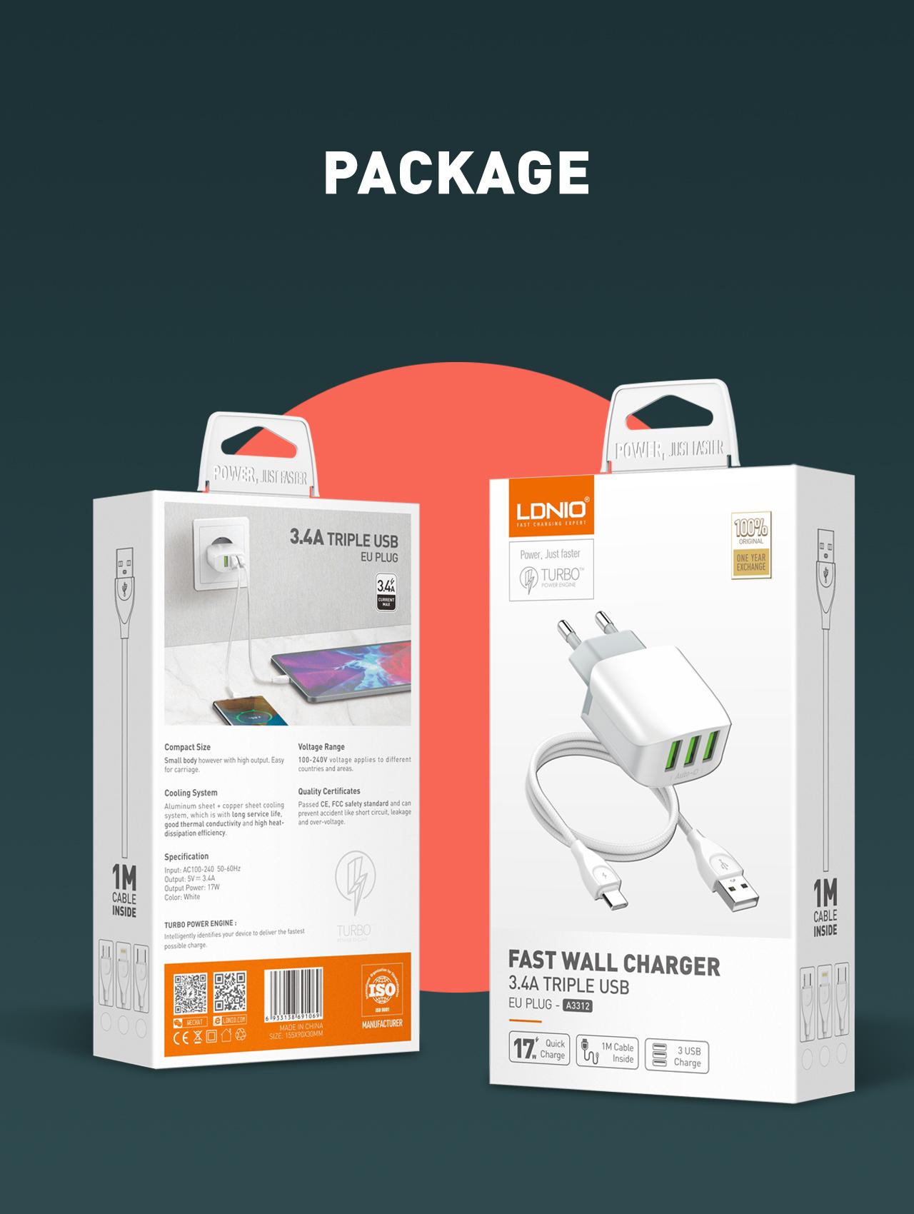 LDNIO A3312 Pengisi Daya Dinding, Pengisi Daya Cepat 3 USB EU 5V/3,4a untuk Perangkat iPhone dan USB