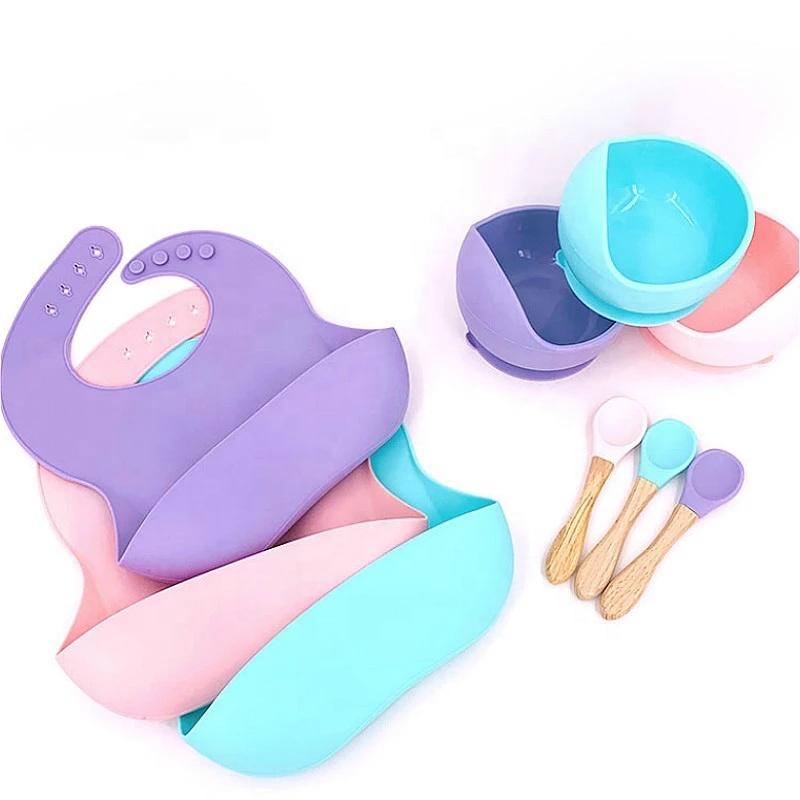 2021 Bpa Free Eco Friendly Custom Suction Bowl Spoon Bib Silicone Baby Feeding Set
