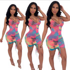 V Neck 2020 Summer Trendy Women Clothing V Neck Spaghetti Strap Rainbow Tie Die Casual Bodycon Ladies Bandage Dress