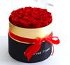 Черный с каймой золотистого цвета коробка с 19 роз