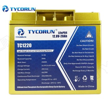 Tycorun Lithium-ion Battery Pack 256Wh Lifepo4 Battery 12V Caricabatterie 20Ah Storage for Solar Panels