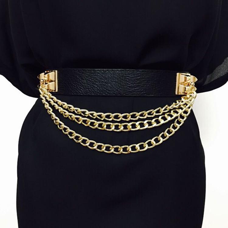 Эластичный ремень в стиле панк для женщин, пояс с заклепками и металлической золотой цепочкой, женский кожаный роскошный брендовый пояс для платьев