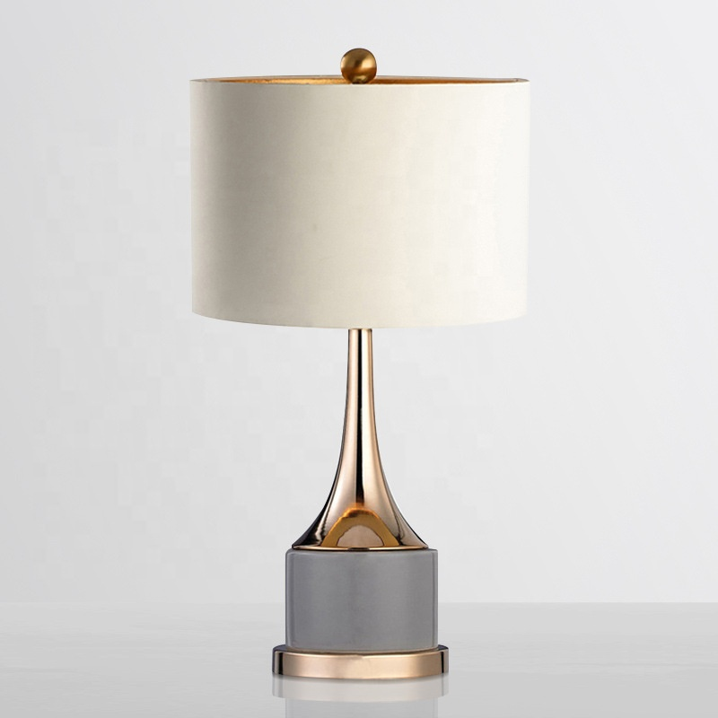 modern style white Gray fabric shade led desk lamp Decorative metal table lamp for hotel guest room home bedroom desk