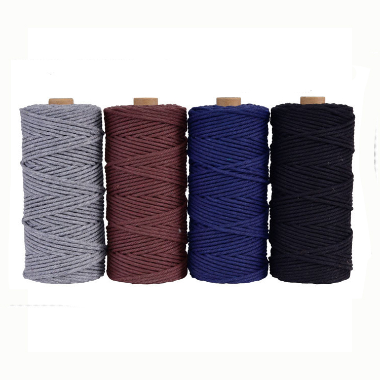 100% Cotton 4 strands cotton Rope Macrame Cord makramee garn for Multiple Use