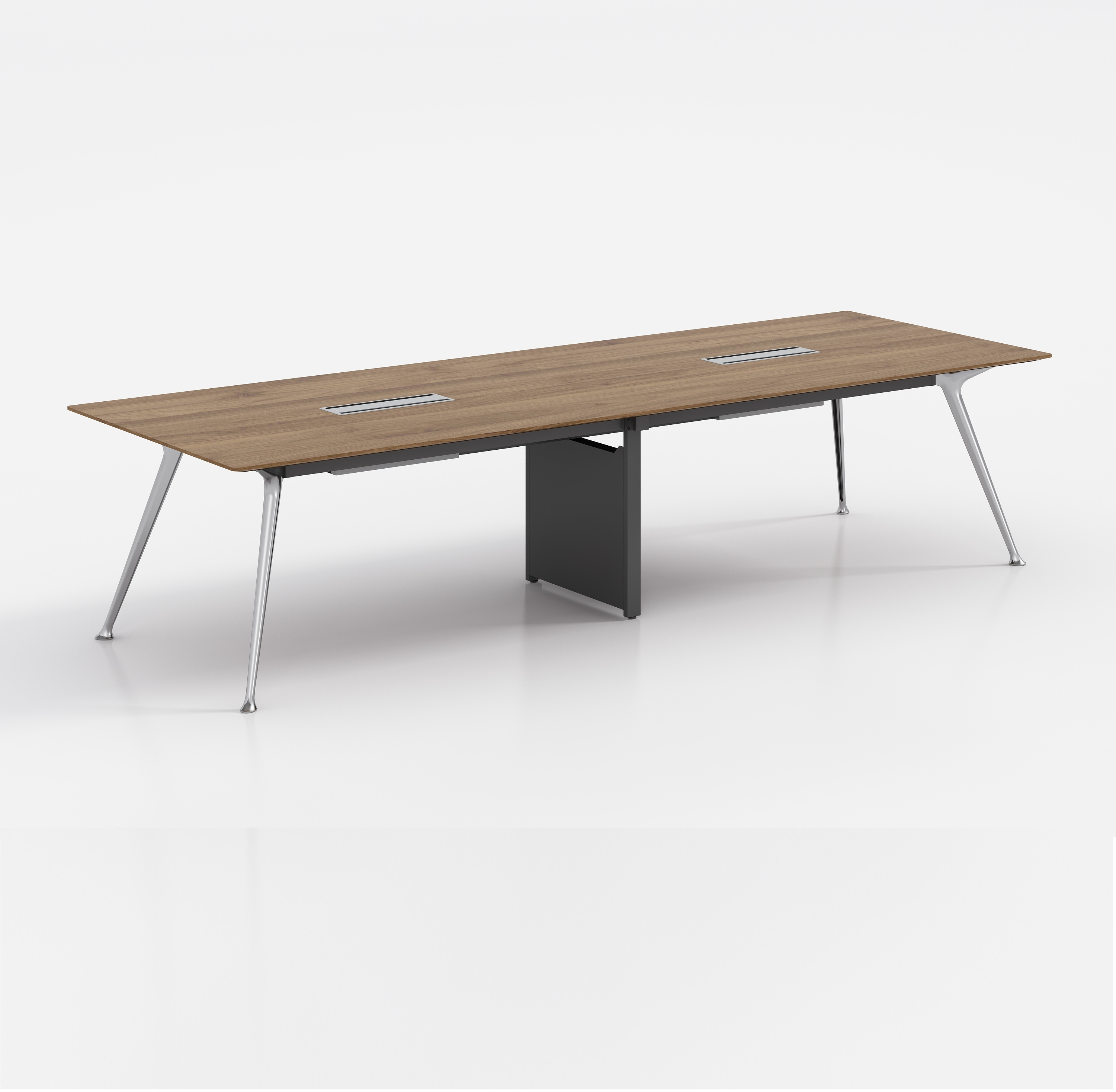 Shinny Aluminum Leg Office Furniture Meeting Table Walnut veneer MDF Conference Table and Chairs Set Conference Furniture