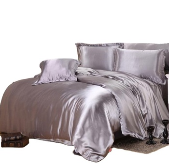 Plain pure black silk satin ding American size three or four bedding sets