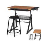 JUSTHOME Custom wooden top metal base modern portable drafting table desk adjustable height architectural drawing table