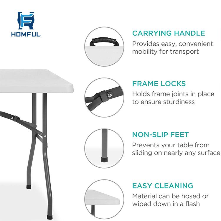 HOMFUL 4ft Outdoor Furniture Folding Table Picnic Rectangle Plastic Tables Portable Plastic Folding Tables