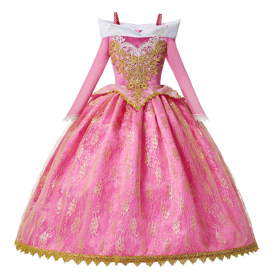 Drop Shipping Princess Elsa Winter Dress Girls Long Sleeve Anna Costume Children Cinderella Rapunzel Tiana Mulan Cosplay