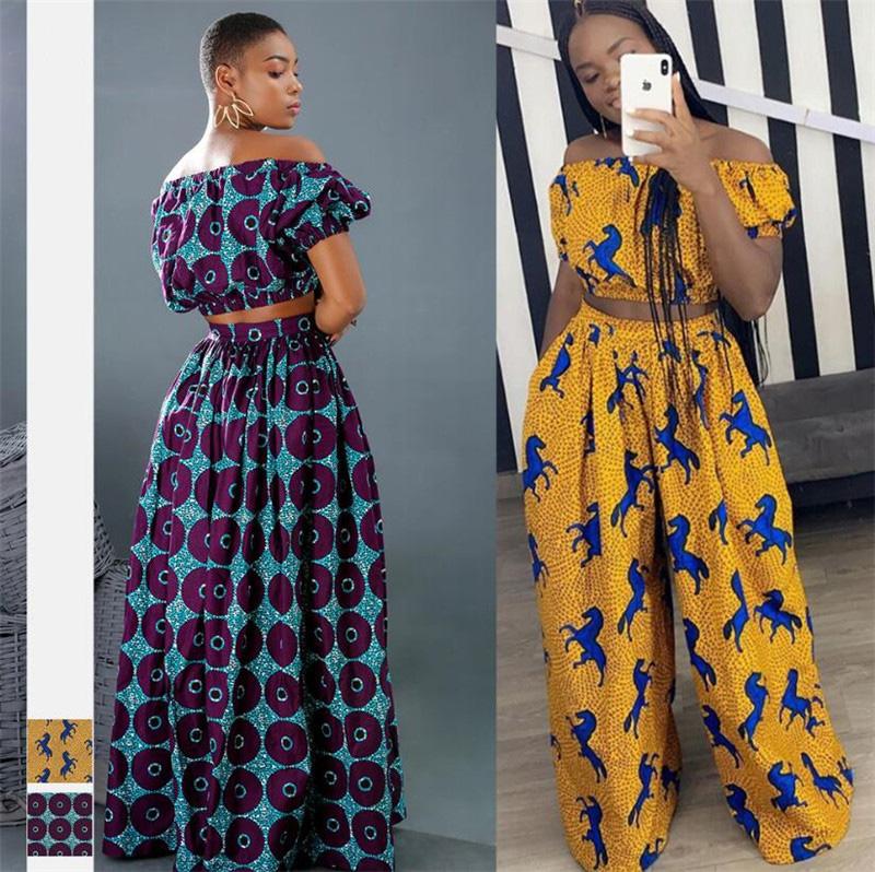 Африканский Дашики, Женский комплект из 2 предметов, короткий топ с открытыми плечами, свободные широкие брюки, комплект из двух предметов, женская одежда, сексуальная летняя одежда