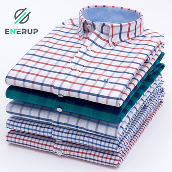 Enerup Wholesale Custom Spring Autumn Casual 100% Cotton Oxford Men's Long Sleeve Plaid Shirt