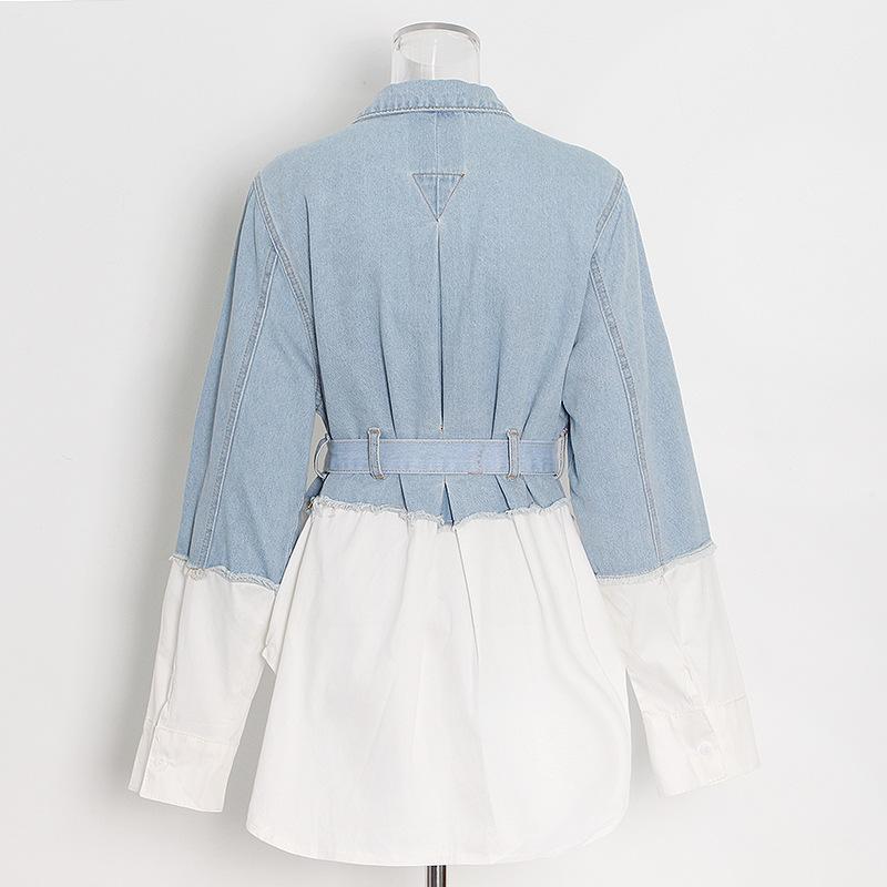 Новое поступление 2021, белая рубашка с поясом, женские джинсовые рубашки в стиле пэчворк с соединением, Джинсовая блузка, джинсовая рубашка, женская блузка