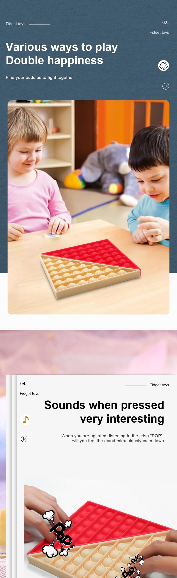 Factory Wholesale High Quality Tangram Pop Set Silicone Stress Reliever Kids Push Bubble Pop Fidget Sensory Toys Push