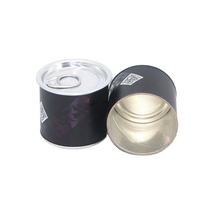 Custom printing black mini cardboard paper cans packaging for tea chili lemon salt sauce olive oil sugar packaging