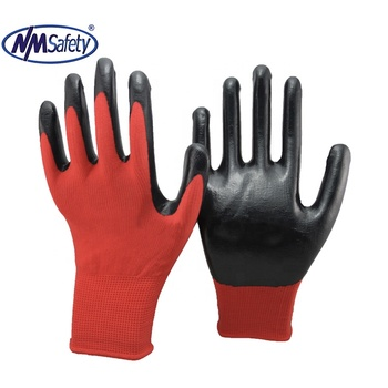 NMSAFETY white liner dipped Purple Smooth Nitrile on Palm Work Glove