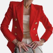 Элегантный Приталенный белый женский офисный блейзер с длинным рукавом, короткий пиджак, Новинка осени, двубортный Женский блейзер(Китай)
