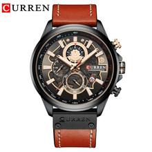 Часы CURREN Мужские, модные, спортивные, кварцевые, водонепроницаемые, с кожаным ремешком(Китай)