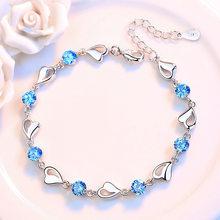 Женский свадебный браслет с цирконом, изысканная цепочка в виде сердца из стерлингового серебра 925 пробы синего и розового цвета, подарочны...(Китай)