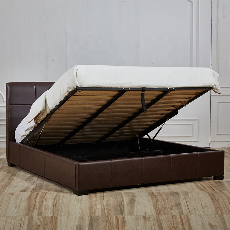 Wholesale quality queen size storage high bed brown leather bed furniture