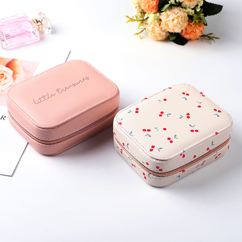 Women Girls Rectangle PU Earrings Jewelry Organizer Storage Case Portable Jewellery Gift Boxes Travel Earring Jewelry Boxes