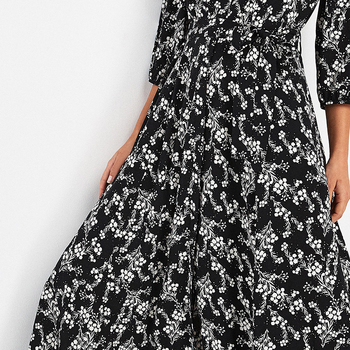 long sleeve maxi dress woman beachwear boho tunic vestidos autumn floral print maxi dress fashionable flower dress