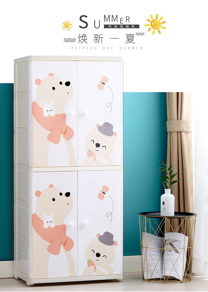 PP Baby Colorful Plastic Storage Drawers Cartoon Cupboard Cabinet Organizer For Children