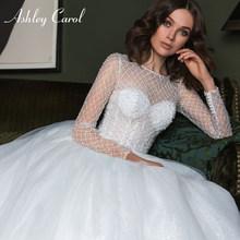 Свадебное платье Эшли Кэрол, сверкающее бальное платье с длинным рукавом, бисером, шнуровкой и пуговицами, свадебное платье принцессы 2020(China)
