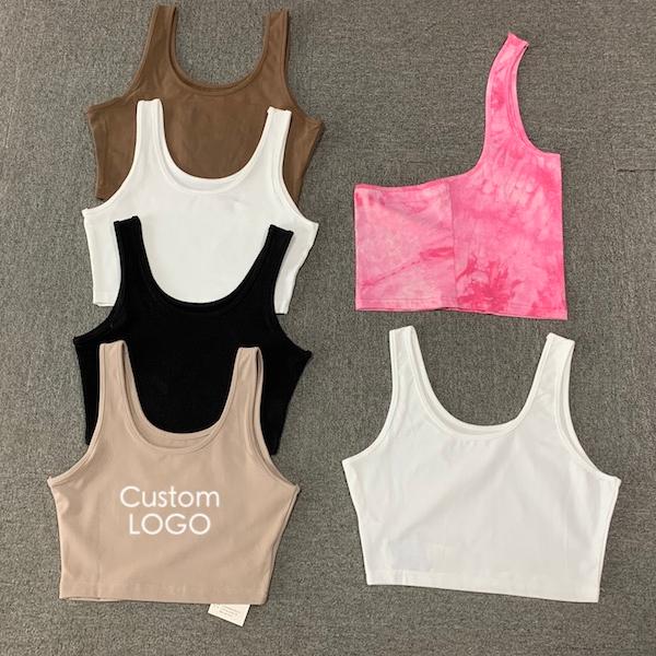 2021 Women Crop Top T-shirt Vest Custom Logo Summer Lady White Brown Yoga Sport Crop Tops Tank Top Women