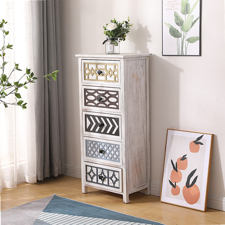 Customized Style Solid Wood Retro Brown Painted Wooden Bedside Nightstand Side Table with 3 Drawers Design for Bedroom