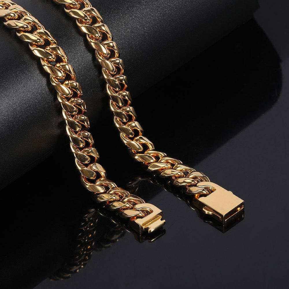 Оптовая продажа Joyeria Inoxidable Позолоченные ювелирные изделия и цепочкой плетения Фигаро Майами панцирного плетения КУБИНСКИЙ звено цепи ожерелье браслет для мужчин комплект ювелирных изделий
